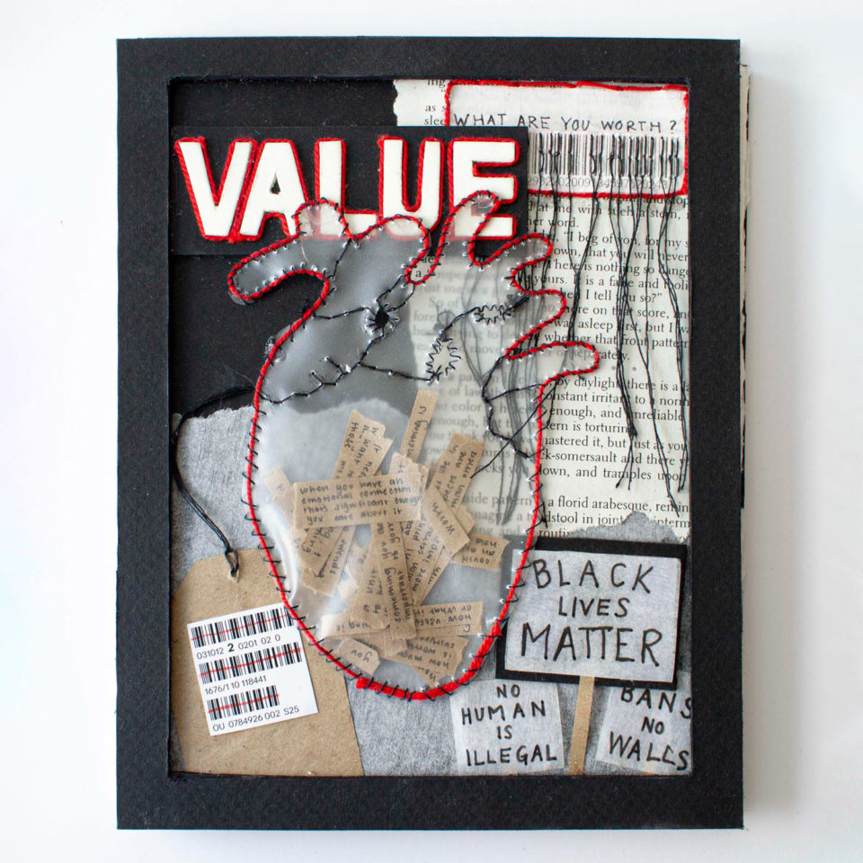 """Collage book cover, features plastic heart and the word """"VALUE"""""""