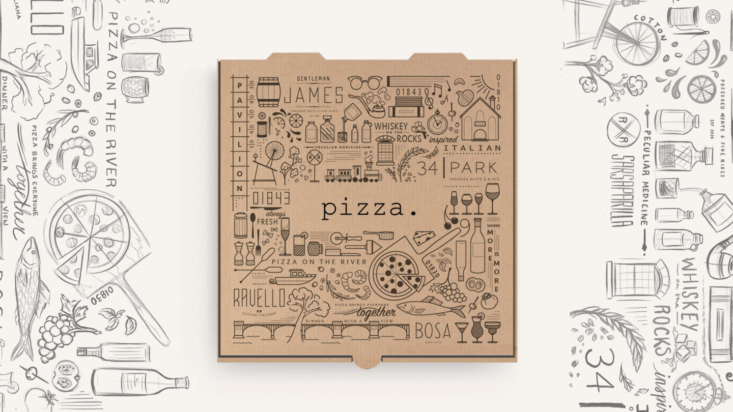 illustrated; pizza box; illustrated icons; lupoli companies; historic