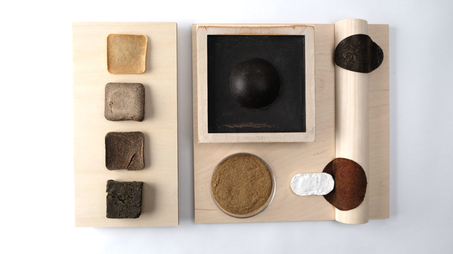 CMF palette showcasing various colors, materials, and finishes that can be achieved with agricultural byproducts.