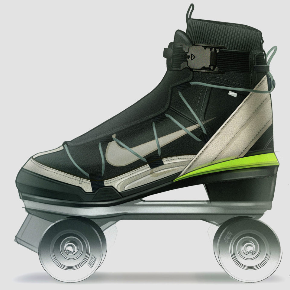 Side view of skate in green and black