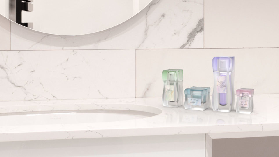 Counter, in context render digital image, product design, rebranded skincare