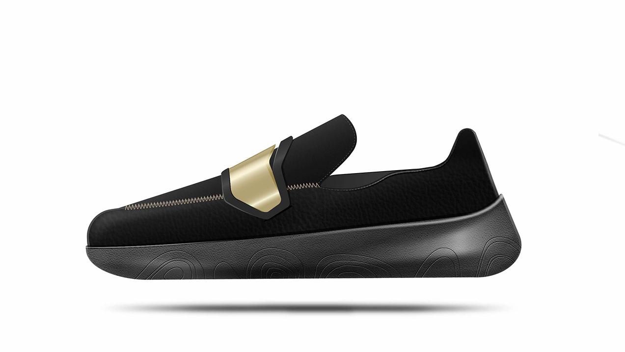 Medial side view of footwear project