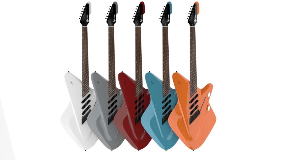 """""""Guitar Color lineup, Guitar Redesign product design, rendering, digital image"""""""