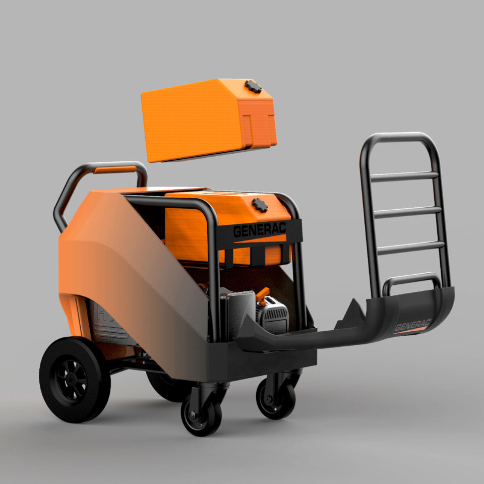Generator with top grill down and one orange gas can in air, digital image, product design