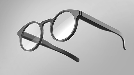 low ¾ view of smart glasses