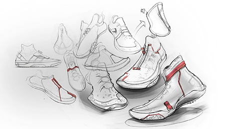 shoe sketches on light grey background