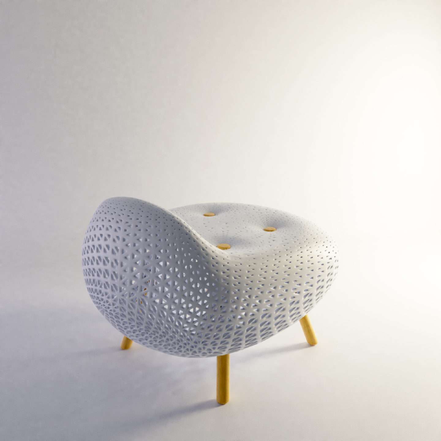 Intricately patterned chair on white backdrop