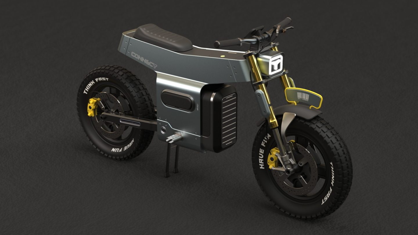 An electric motorcycle that features a trailer.