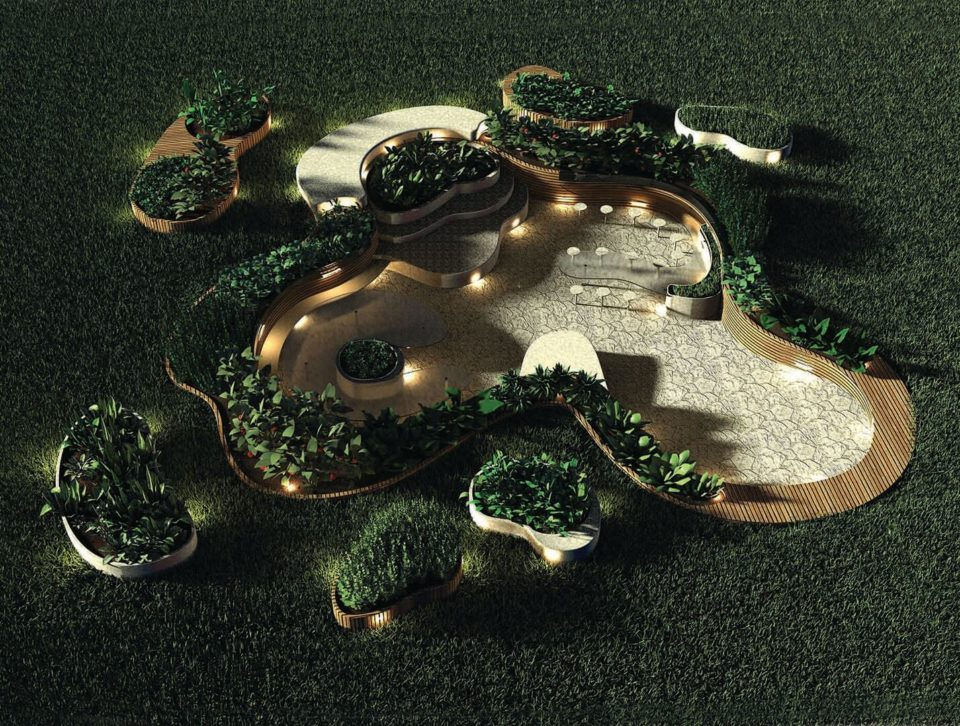 Landscape design, in-ground dining space, product design