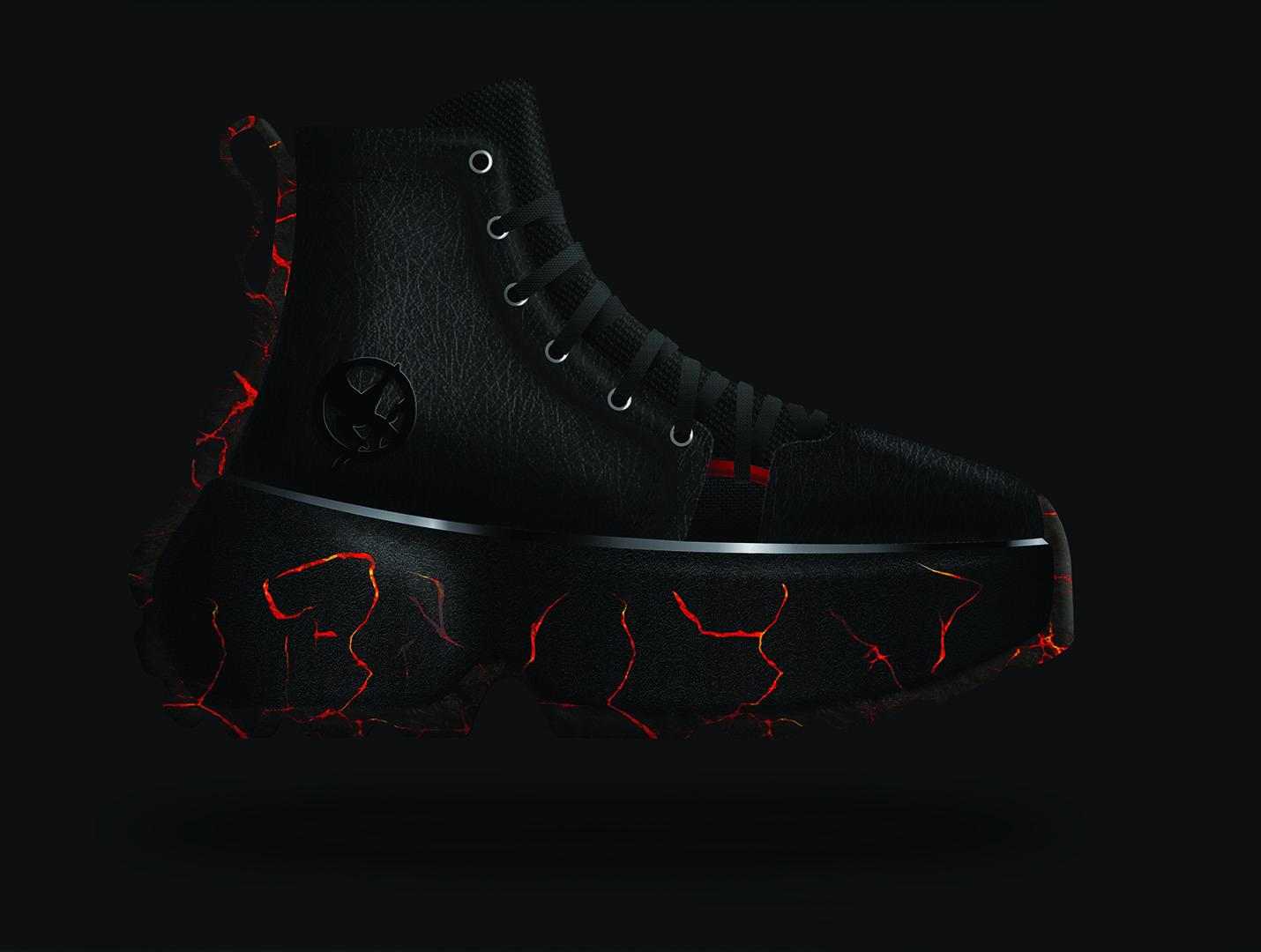 Shoe design, black boot, Illustrator render