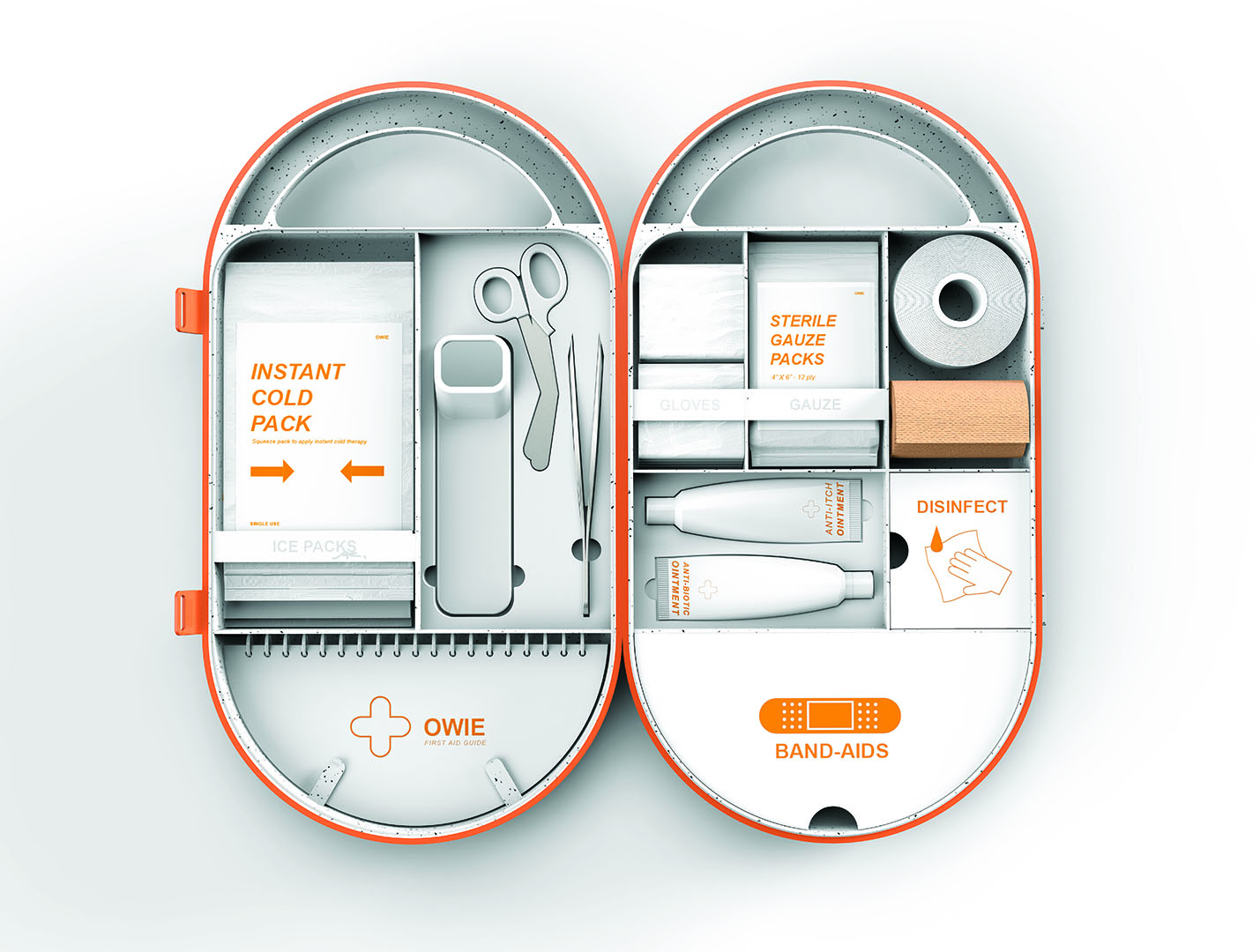 First aid kit design, orange and white, contents inside
