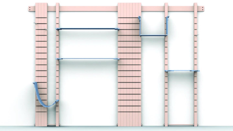 Modular Shelf, Brown, Blue, digital image, product design
