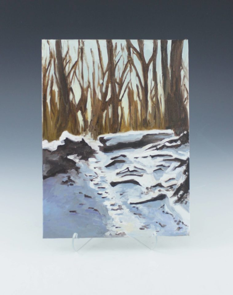 Oil painting of snowy, winter landscape.
