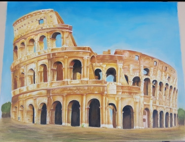 Colored pencils, pastels, and woodless colored pencils used on card-stock to recreate the Roman Colosseum