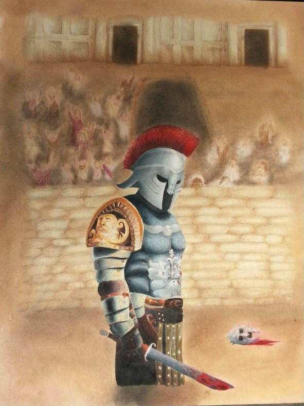 Colored pencils and pastels used on card-stock of a Gladiator