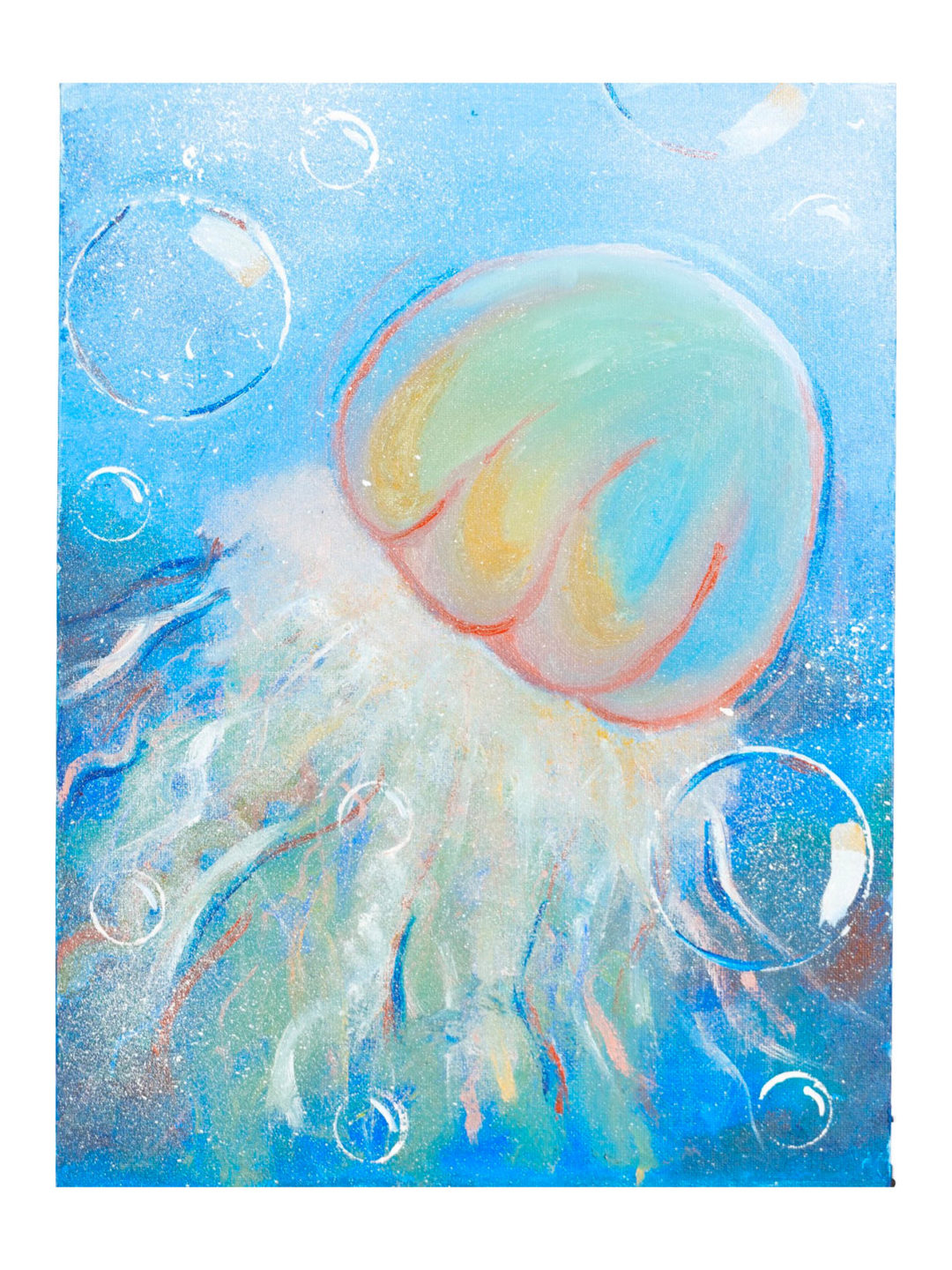 This painting was painted on a canvas using thick acrylic paint and detailed brushwork, this painting also uses circular objects for shape work. This painting uses blues for the water, red, orange, yellow and blue for the head of the jellyfish, and the same colors for the tail of the jellyfish including white. This painting also uses white, red, blue and yellow for the bubbles.