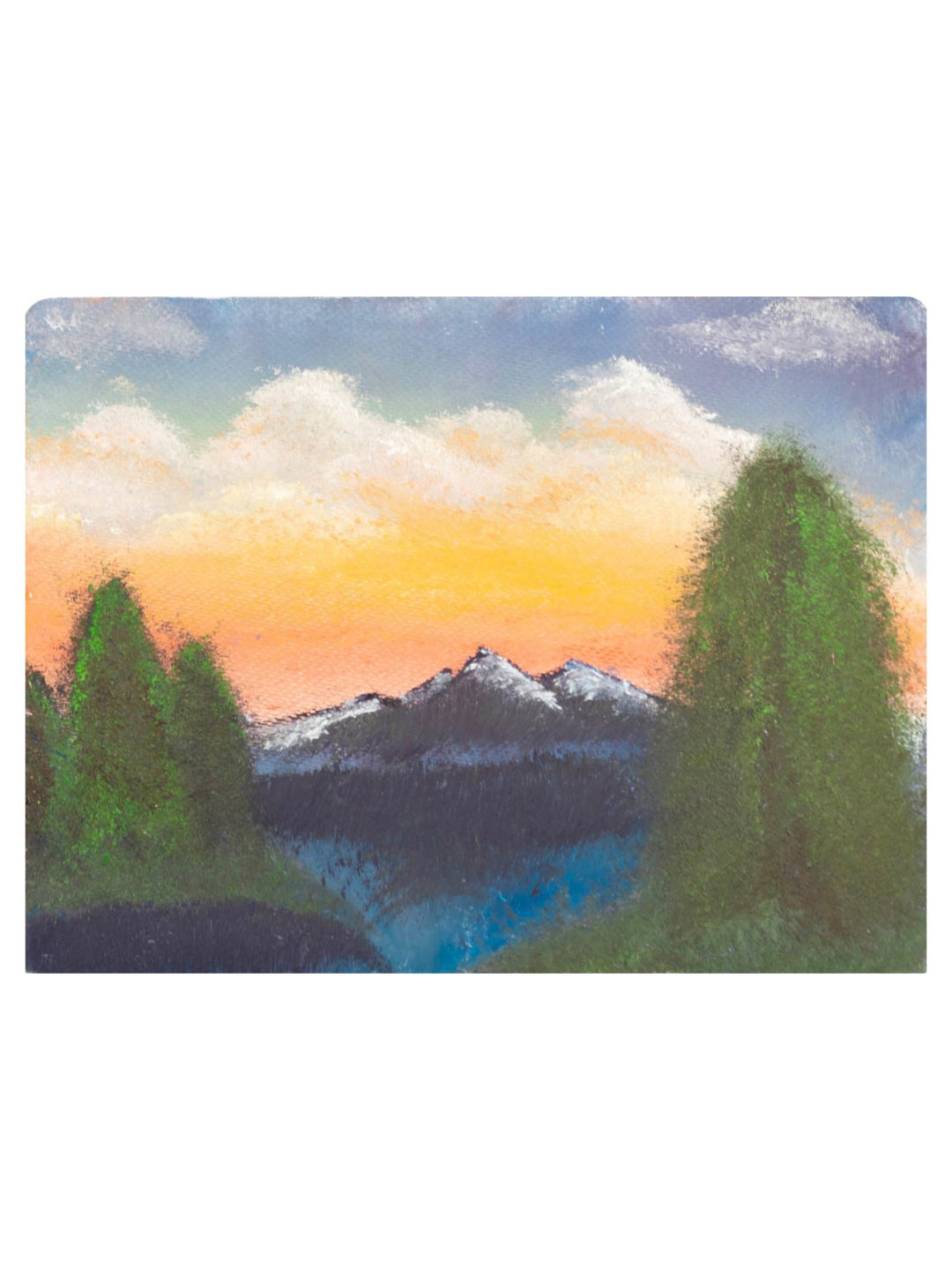 This painting consist of Thick acrylic paints used to paint on wood surface, using yellow, orange, red and white for the sky and clouds, using black and blue for the water, using black and white for the mountains, and using greens for the trees and grassland.