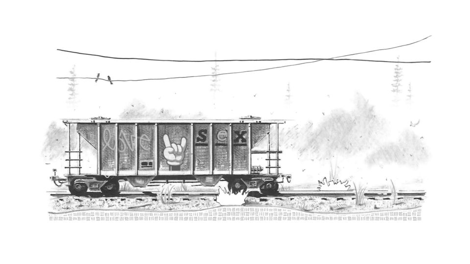 Abandoned train car on the nearby tracks