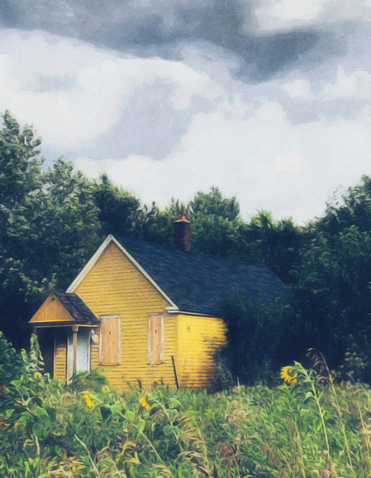 Yellow house in a field with sunflowers
