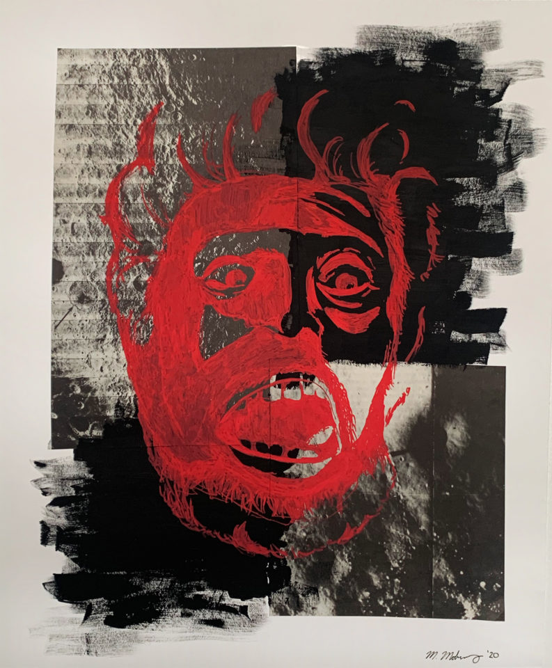 Red face with a black background containing pictures of a planet's landscape.