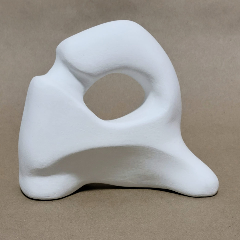 """Gesso and clay, rough """"R"""" shape"""