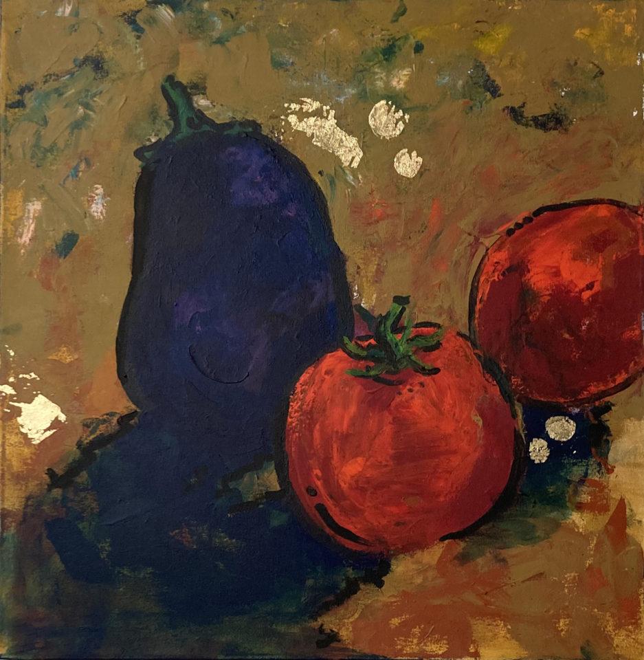 tomato and eggplant acrylic on canvas