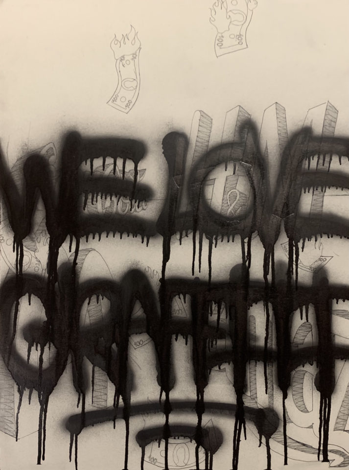Drawing paper, pencil, pen, spray paint