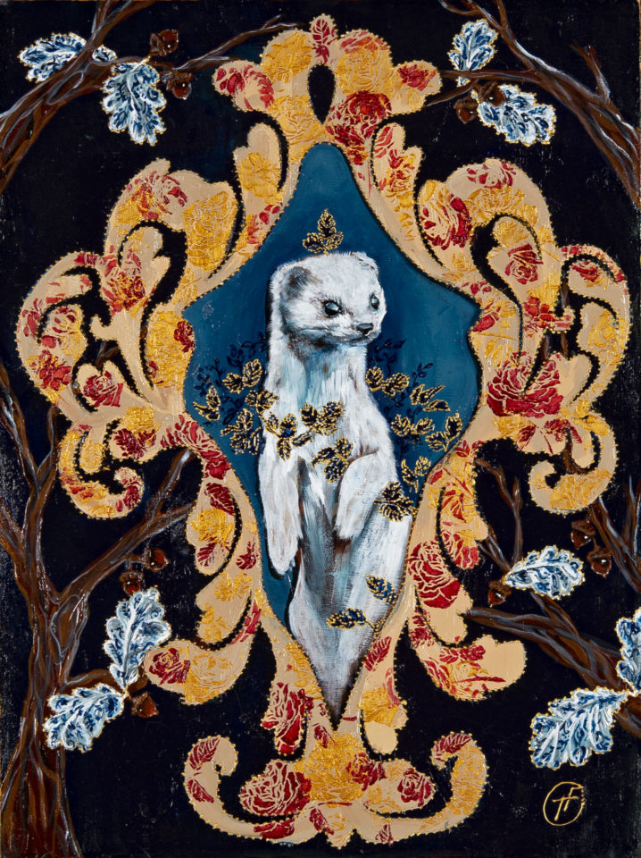 painting of white weasel