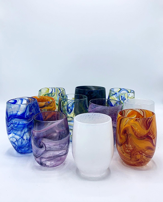 Variety of colored marbled cups