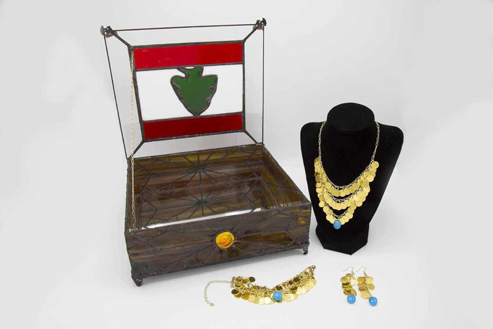 Jewelry box and jewelry inspired by the women in my family, who immigrated to the U.S.