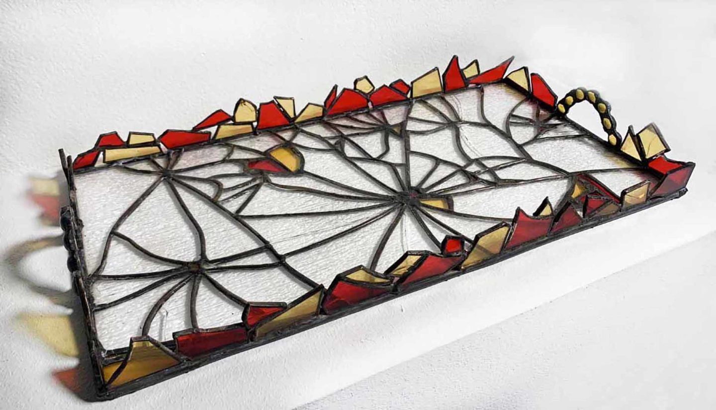 Purposely cracked stained glass serving tray, with handles