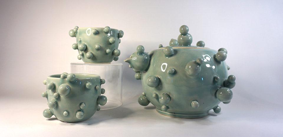 porcelain tea set with orbs
