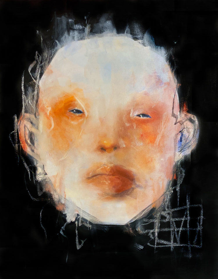 oil on canvas of face