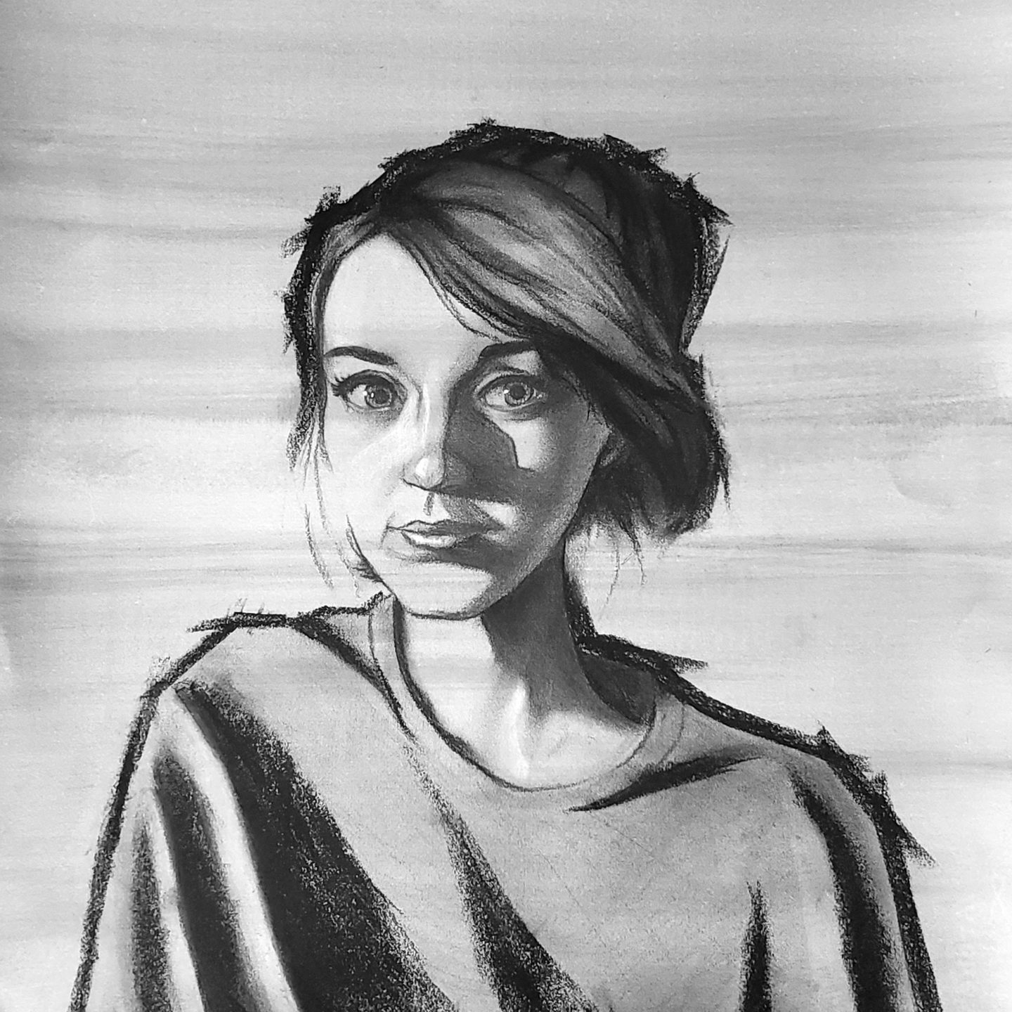 Charcoal on paper with ink wash