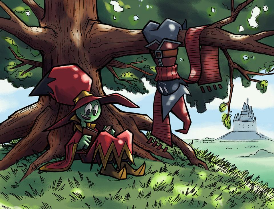 green creature under tree