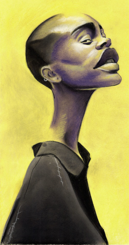 Man with long neck with yellow background
