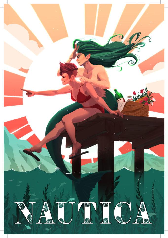 women and mermaid on dock