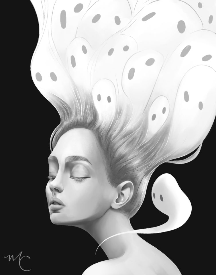 Girl with ghost in hair