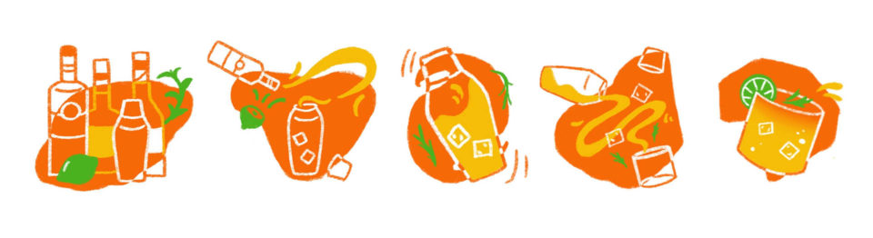 Five orange drinks