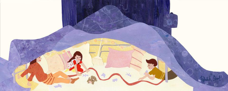 Two Children under blankets