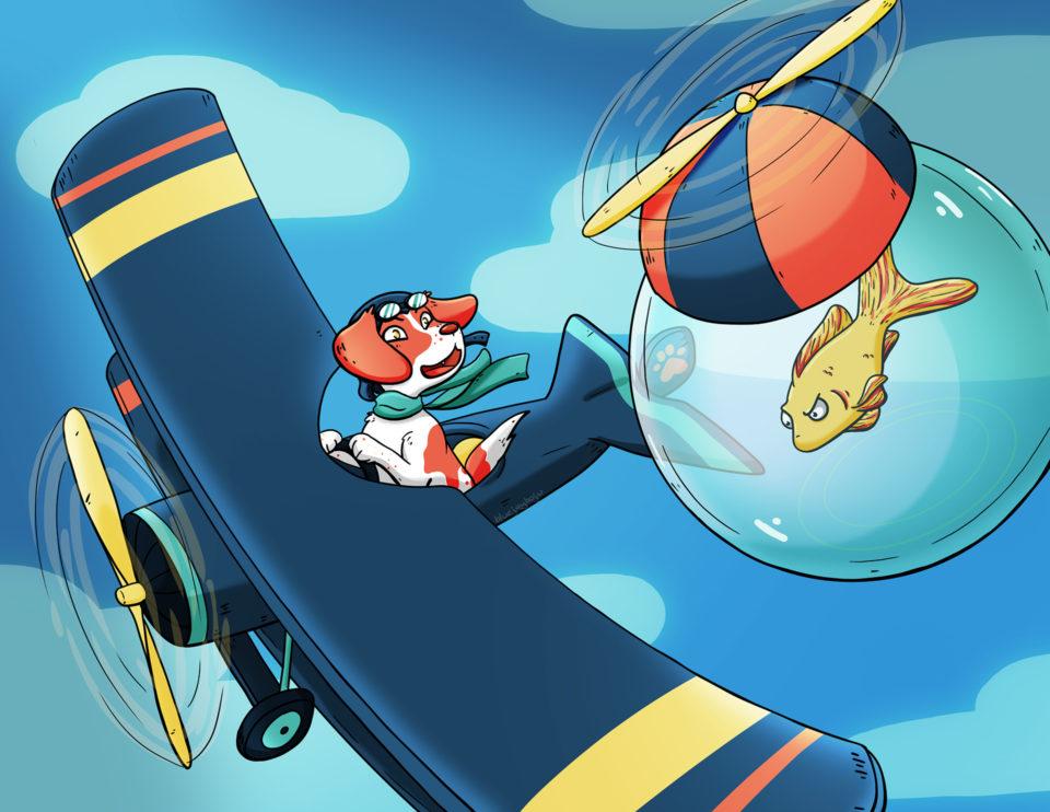 Airplane and fishbowl