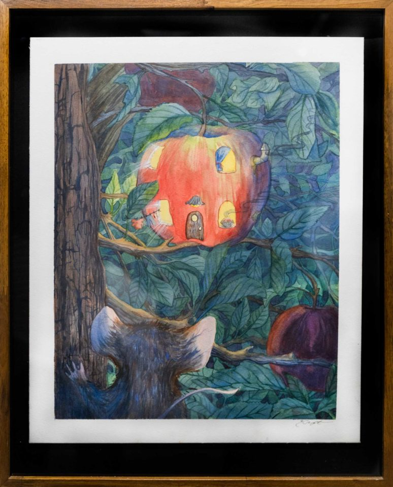 Water color painting of an apple house in a tree with a rodent looking in