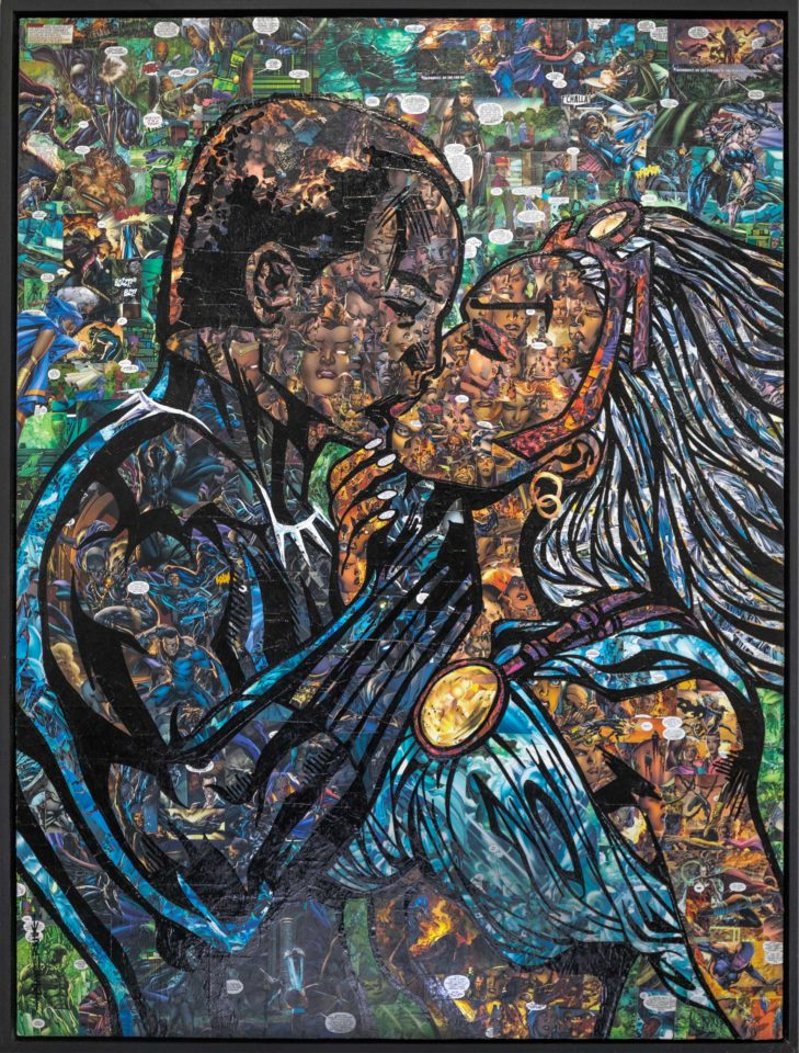 Comic collage of Black Panther kiss