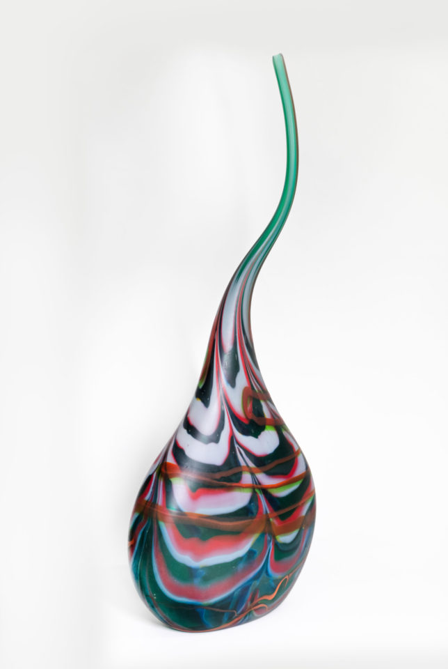 Glass vase with thin swirling top