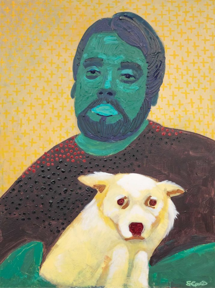 A painting of a dog sitting on a man's lap
