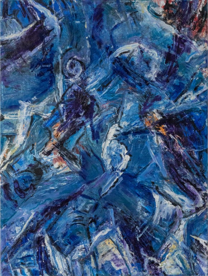Oil painting with blue features