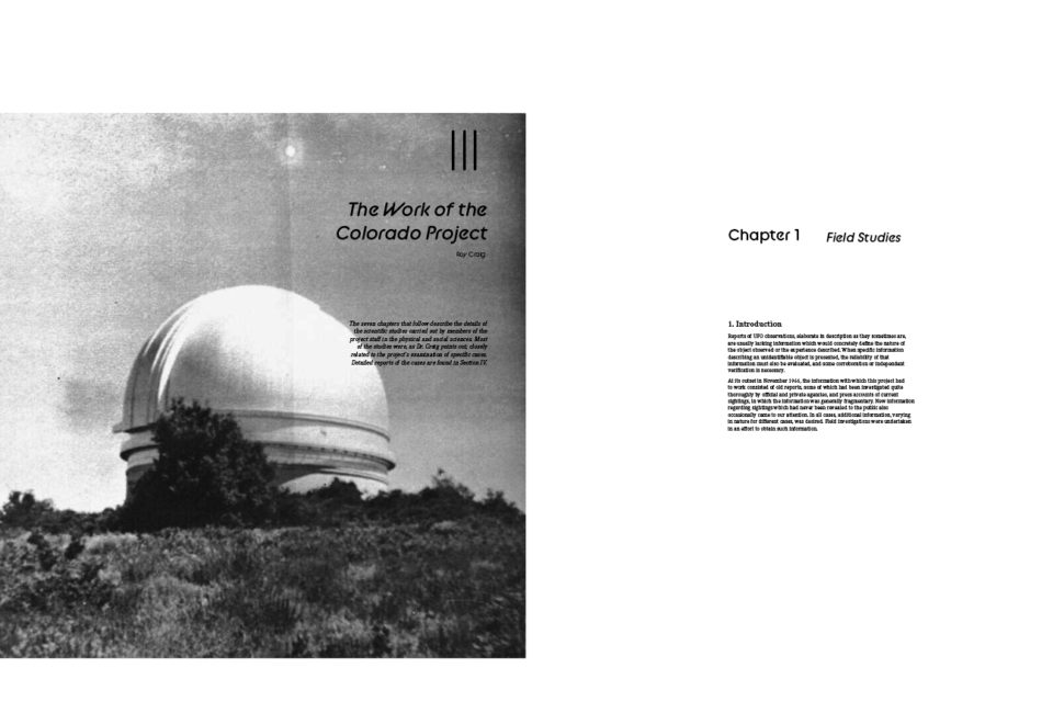 Sketch for book layout of UFO Condor Report