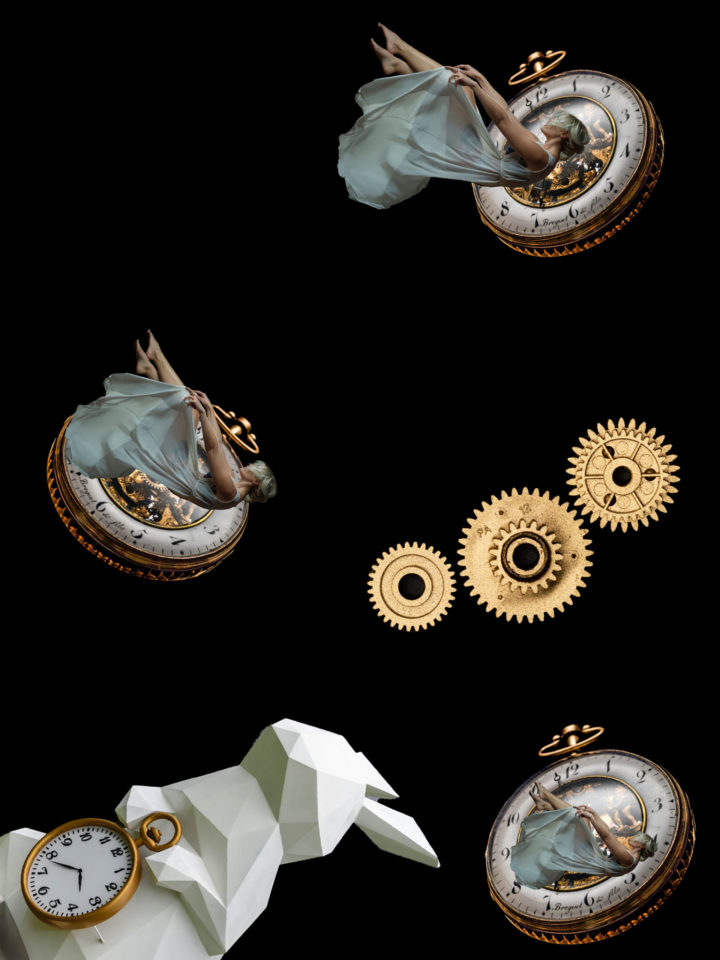 Collage of a woman falling into clocks
