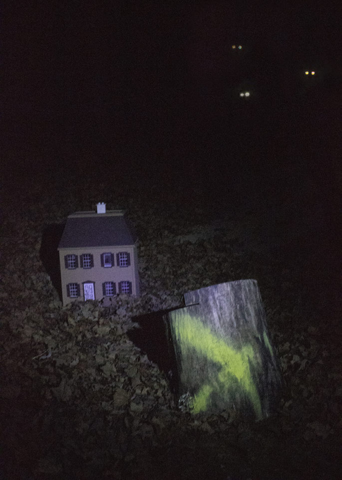 in the foreground is a stump with an x on it, above that is a dol house and in the upper right of the image 3 pairs of glowing eyes are seen