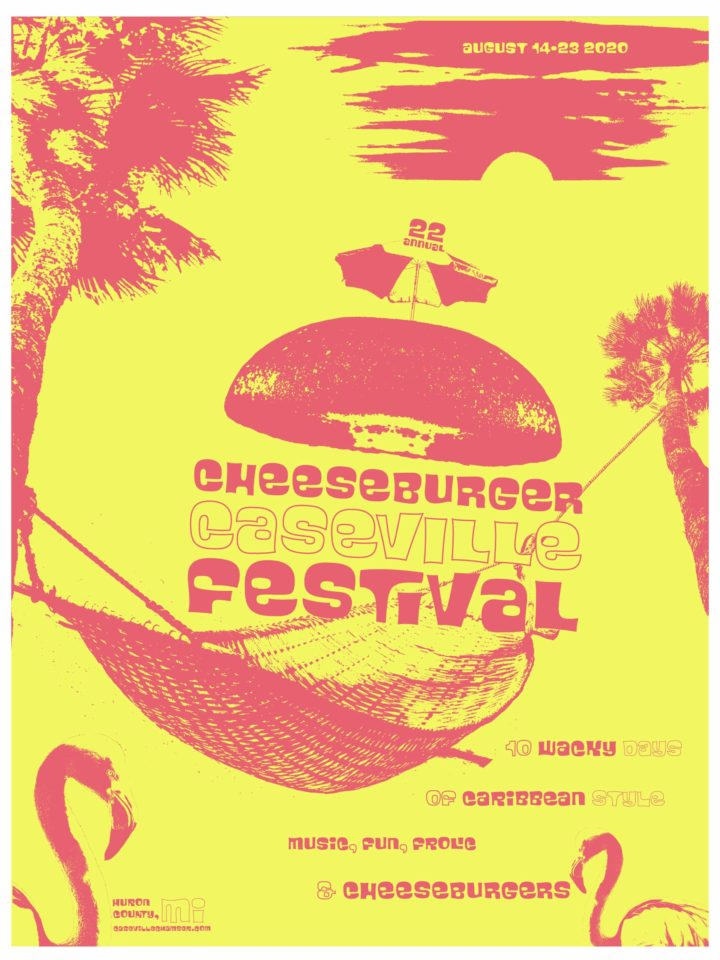 A poster series on the Cheeseburger Festival in Caseville, advertising the main festival and the parade event